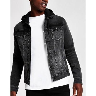 リバーアイランド メンズ ジャケット&ブルゾン アウター River Island hooded denim jacket in black Black