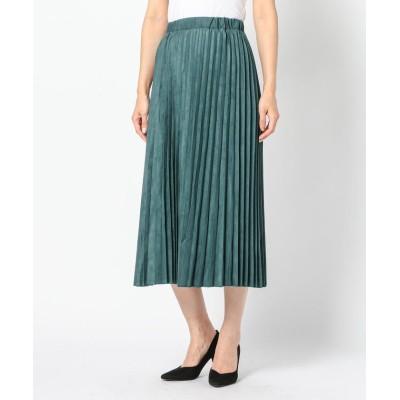 【ミューズ リファインド クローズ】 フェイクスエードプリーツスカート レディース ダーク グリーン M MEW'S REFINED CLOTHES
