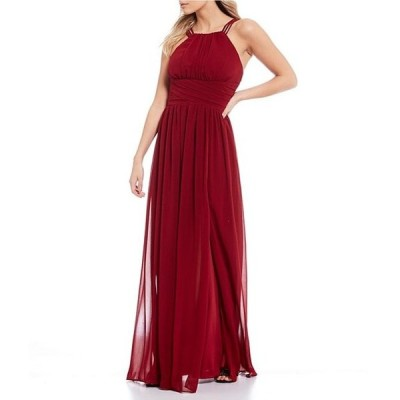 シティヴァイブ レディース ワンピース トップス High-Neck Pleated Chiffon A-Line Long Dress