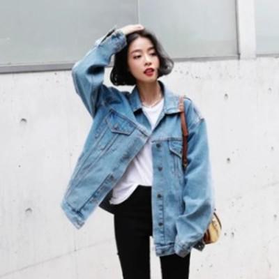 デニムジャケット レディース 韓国 ファッション 秋服 レディース オーバーサイズ デニム ジャケット 秋 アウター Gジャン ブルーデニム