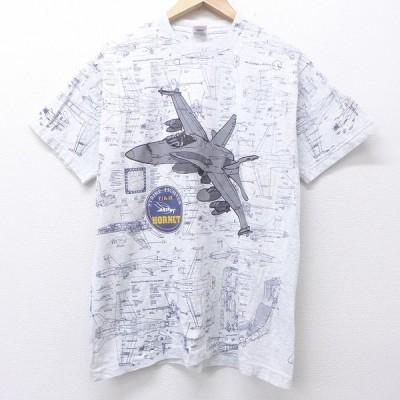L/古着 半袖 ビンテージ Tシャツ 90s 戦闘機 総柄 全面プリント クルーネック グレー 霜降り 【spe】 20jul16 中古 メンズ