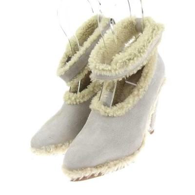 美品 クロエ Chloe レディース ムートン ストラップ パンプス 靴 ライトグレー size35 1/2 M02517