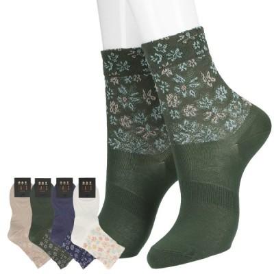 DAKS ダックス日本製 The Eden Floral フロート オーガニックコットン クルー丈 レディース ソックス 靴下 女性 婦人 プレゼント ギフト03367257