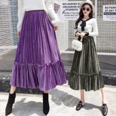 【S-2XL 全7色】秋冬プリーツスカート ロングスカート 大きいサイズ マキシ丈 ウエストゴム