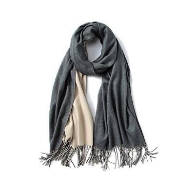 """Cashmere Feel Warm 2 Tone Shawl - Oversized 78""""x28"""" Wrap Scarf (Dark Grey and Ivory)"""
