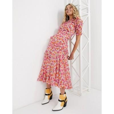 トップショップ レディース ワンピース トップス Topshop frill detail midi dress in pink floral