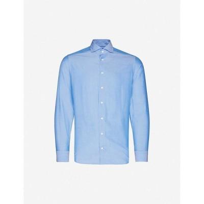 イートン ETON メンズ シャツ トップス Regular-fit cotton-blend shirt Blue