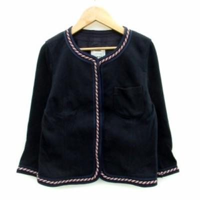 【中古】プラステ PLST ジャケット ノーカラー 七分袖 ミドル丈 シングルボタン 2 ネイビー 紺 /MS19 レディース