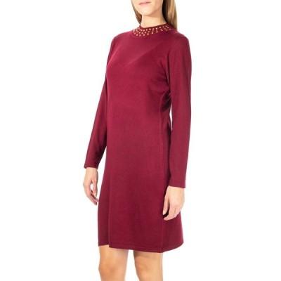 ニナレオナルド レディース ワンピース トップス Jewel Mock Neck Sweater Dress WINE