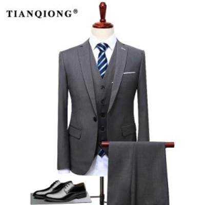 スーツ 3ピース(ジャケット+ベスト+パンツ) セット メンズ ウェディング スリムフィット カジュアル