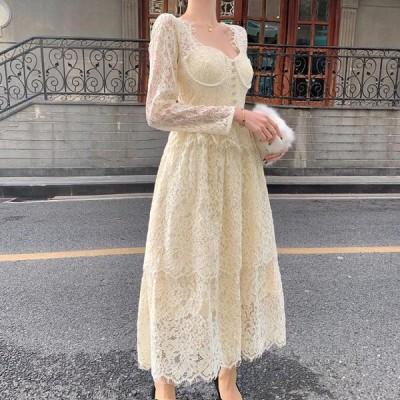 ワンピース レディース パーティドレス 20代 韓国 結婚式 10代 30代 ロング丈 長袖 レース 花柄 スクエアネック 二次会 演奏会 上品 Aライン きれいめ ホワイト