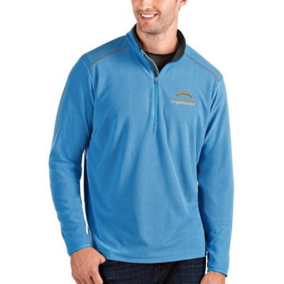 """メンズ ジャケット """"Los Angeles Chargers"""" Antigua Glacier Quarter-Zip Pullover Jacket - Powder Blue/Charcoal"""