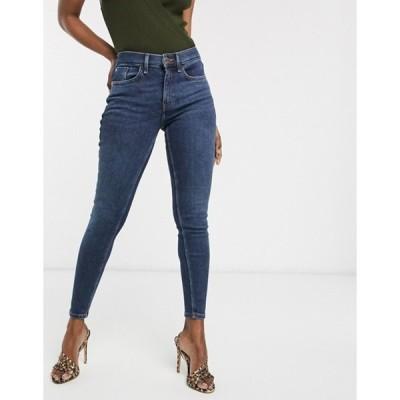 リバーアイランド レディース デニムパンツ ボトムス River Island Amelie skinny jeans in dark wash blue