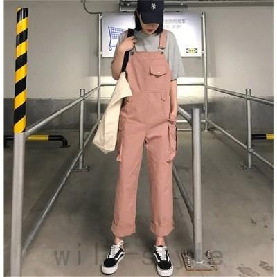 オーバーオールつなぎサロペット韓国オルチャンストリート原宿系アメカジダンス衣装パンツドット柄リボンオールインワンボトムス