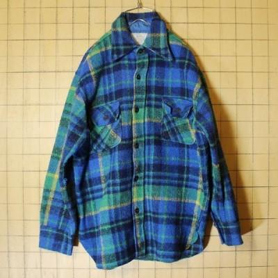 60s 70s CPO ウールシャツ ブルー 長袖 チェック メンズM 古着