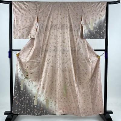 付下げ 美品 秀品 草花 枝垂れ桜 刺繍 金彩 薄ピンク 袷 160.5cm 64cm M 正絹 中古