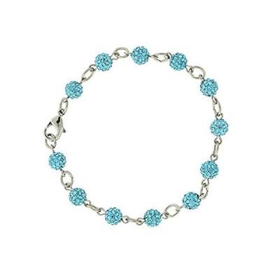 【新品】1928 Jewelry Silver-Tone Aqua Blue Crystal Fireball Pave Clasp Bracelet
