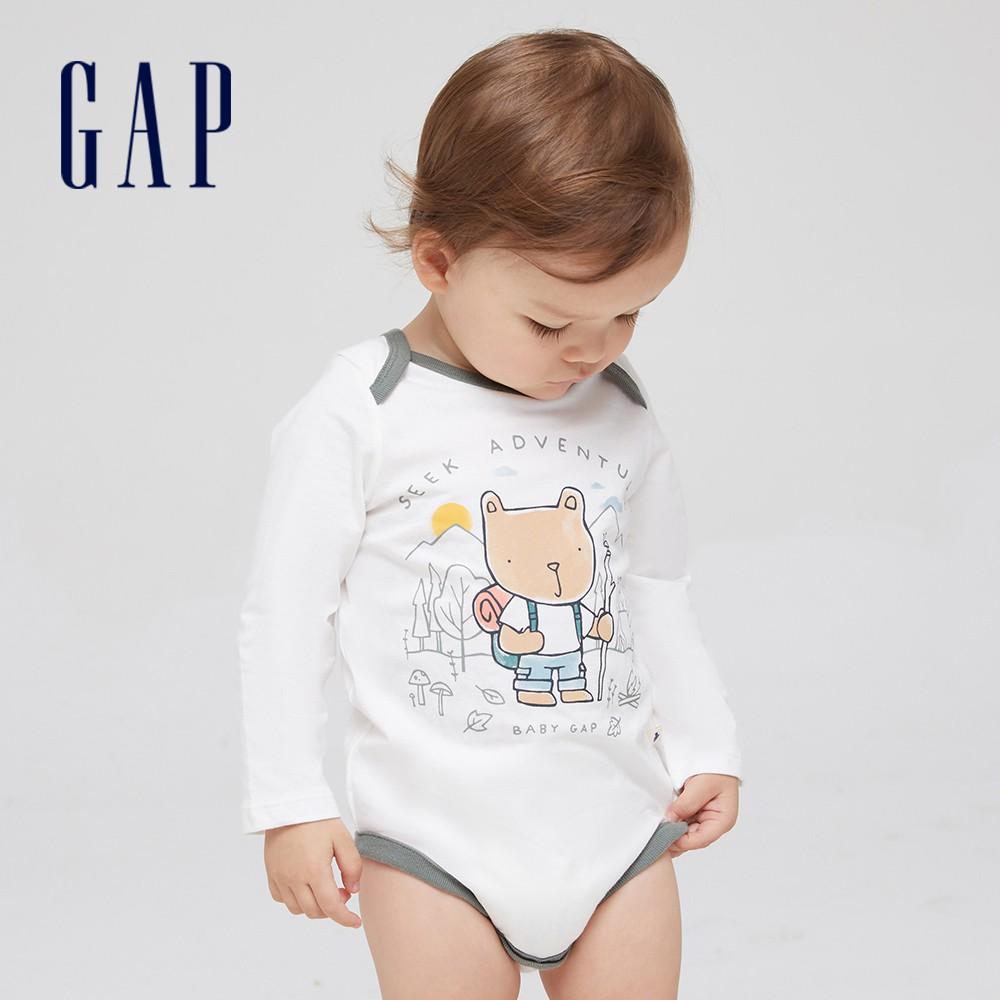 Gap 嬰兒 棉質舒適童趣印花長袖包屁衣 663871-白色