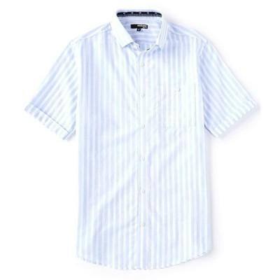 ムラノ メンズ シャツ トップス Slim-Fit Striped Short-Sleeve Woven Shirt