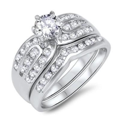 エンゲージ メモリアル ペアリングノーブランド Brilliant Simulate Sapphire Engagement Wedding CZ Silver Ring Set  2.17 Ctw
