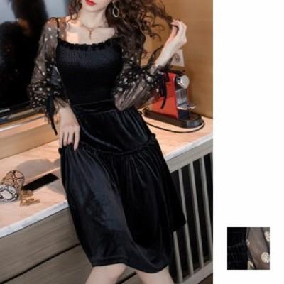 韓国 ファッション レディース パーティードレス 結婚式 お呼ばれドレス セットアップ 秋 冬 新作 パーティー ブライダル naloH295  モノ