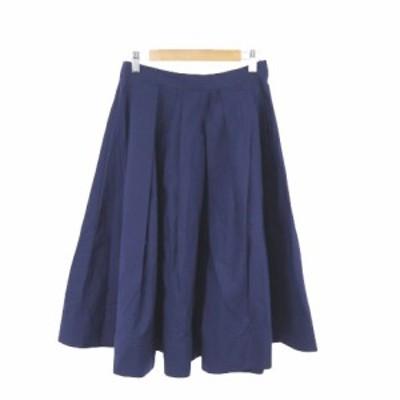 【中古】ミュベール muveil スカート フレア ロング ミモレ ジップフライ コットン 36 紺 ネイビー /MO レディース