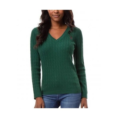 U.S. POLO ASSN. USポロ レディース 女性用 ファッション セーター Mini Cable V-Neck Sweater - Forest Lure