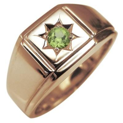 メンズリング 地金 印台リング メンズ 指輪 ペリドット 10金 K10 人気 プレゼント 男性