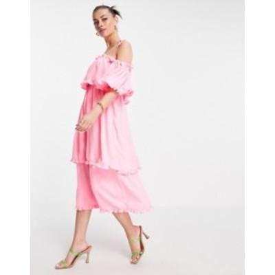 リバーアイランド レディース ワンピース トップス River Island ruffle tiered maxi slip dress in pink Pink