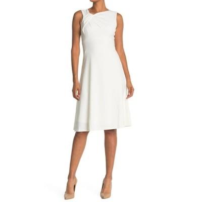 カルバンクライン レディース ワンピース トップス Asymmetric Neck A-Line Dress CREAM