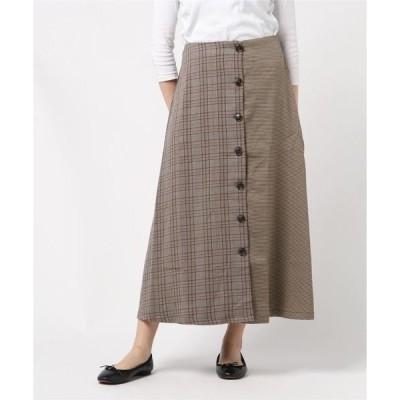 スカート 先染めチェック柄切替フロントボタンフレアロングスカート