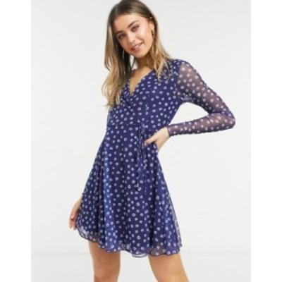 エイソス レディース ワンピース トップス ASOS DESIGN mesh wrap mini dress with long sleeve in blue floral print Blue floral print