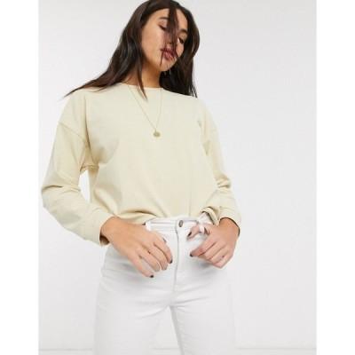 トップショップ レディース パーカー・スウェットシャツ アウター Topshop sweatshirt in ecru White