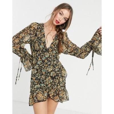 インザスタイル ミディドレス レディース In The Style x Saffron Barker tiered mini dress in black paisley print エイソス ASOS sale マルチカラー