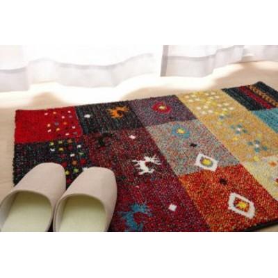 玄関マット トルコ製 ウィルトン織り フォリア レッド 約50×80cm(代引不可)【送料無料】