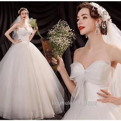 ウエディングドレス   結婚式 二次会  花嫁 プリンセスドレス Aライン 白ドレス ロングドレス 披露宴  姫系 レース お呼ばれ 挙式