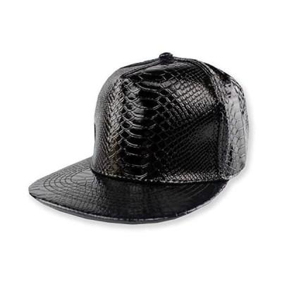 WHITE FANG(ホワイトファング) レザー 帽子 ヘビ柄 平つば キャップ 黒 赤 革 おしゃれ かっこいい (01:ブラック サイズ)