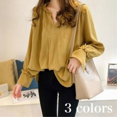 春 秋 スキッパーシャツ レディース ゆったりシャツ フリルシャツ 韓国 トップス 長袖 大きいサイズ オフィスカジュアル TP-0208