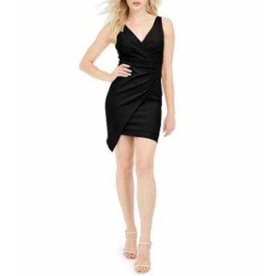 ゲス レディース ワンピース トップス V-Neck Sleeveless Scuba Crepe Faux Wrap Dress Black