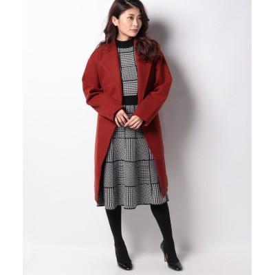 【インタープラネット】 ニットメルトン裾配色スタンドカラーコート レディース レッド 002 INTERPLANET