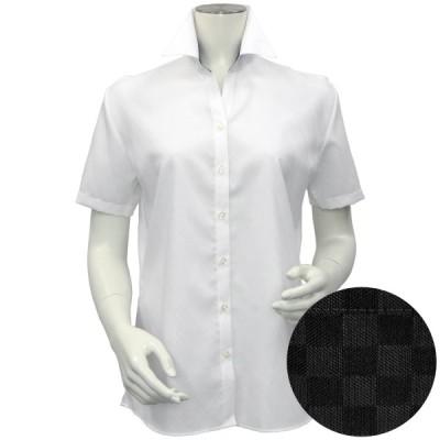 レディース ウィメンズシャツ 半袖 形態安定 スキッパー衿 綿100% 白×斜めストライプ織柄