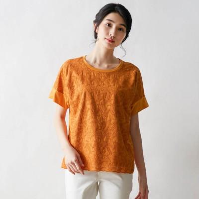 綿100%の身頃刺しゅう切り替えカットソー[日本製](ビーニート/BE NEAT)