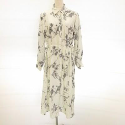 【中古】ビス ViS color シャツワンピース ロング 長袖 花柄 白 グレー F *E798 レディース