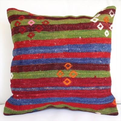 オールドキリムクッションカバー40cmサイズ/Turkish Kilim Cushion ウール手織りキリム グリーン・ブルー・レッド/シンプルボーダー・ジジム