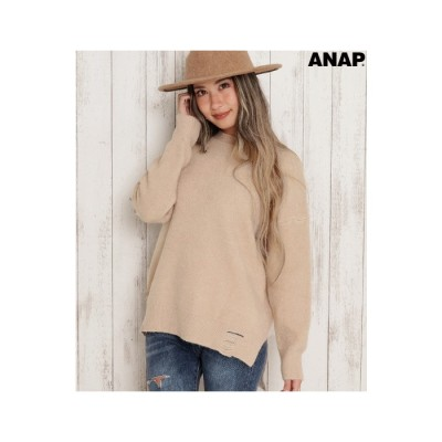 ANAP ヘムクラッシュニットトップス / ANAP / 153-4321 ベージュ  レディース