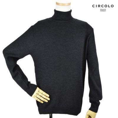 [限定SALE]チルコロ 1901 ニット セーター ハイネック タートルネック ウール チャコールグレー メンズ