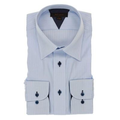 【タカキュー】 形態安定抗菌防臭レギュラーフィット レギュラーカラー長袖ビジネスドレスシャツ/ワイシャツ メンズ サックス LL:43-86 TAKA-Q