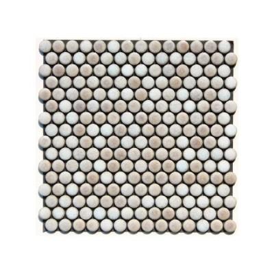 丸モザイクタイル シート(224粒)販売。(19mm 磁器質)ピンクパール。ミックスデザインタイル対応、おしゃれなアンティーク、レトロモダン風。玄関・テーブ