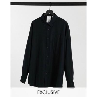 コルージョン Collusion メンズ シャツ フランネルシャツ トップス Long Sleeve Flannel Shirt In Washed Black ウォッシュブラック