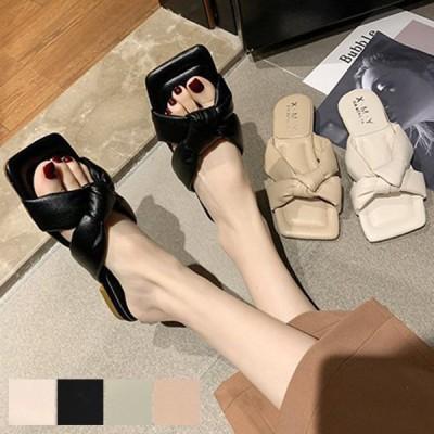 サンダル ぺたんこ 歩きやすい 履きやすい 夏 黒 白 リボン スクエア フラット ローヒール PUレザー 合成皮革 シューズ 靴 レディース